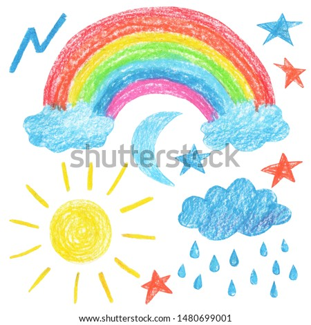 weather rainbow sun moon lightning stars cloud rain childish drawing crayons illustration nature set isolated background