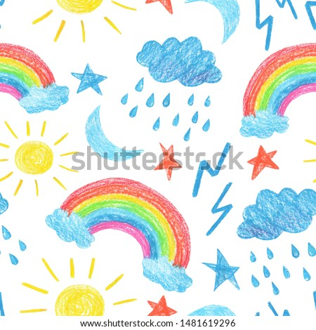weather rainbow sun moon lightning stars cloud rain childish drawing crayons illustration nature set isolated background seamless pattern for wallpaper and fabric