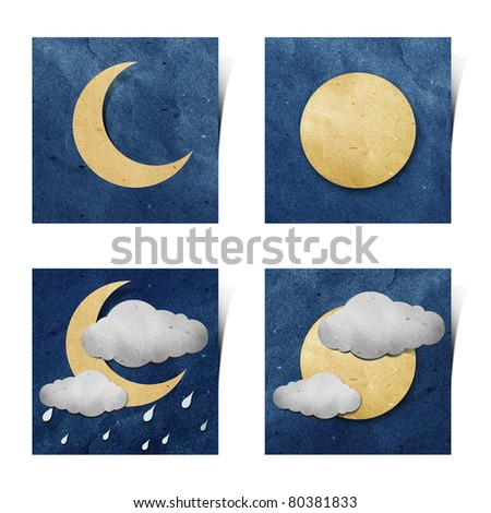Weather recycled paper craft stick on grunge paper background