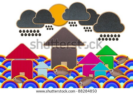 Weather recycled papercraft on white paper background