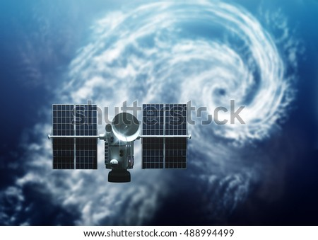 Stock Photo Weather Satellite orbiting Earth. Below A tropical Storm Hurricane is forming  - 3D Illustration.