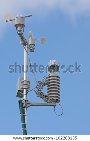 weather station against blue sky
