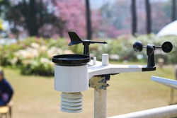 Weather station or a meteorological instrument with solar cell system to measure the wind speed.