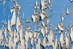Weathered blue wood with peeling paint