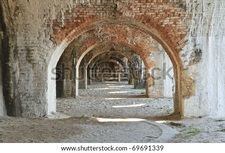 Weathered brick arches in a bastion of civil war era Fort Pickens in the Gulf Islands National Seashore near Pensacola, Florida