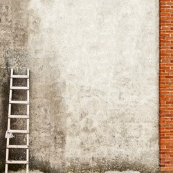 weathered brick wall with wooden ladder background