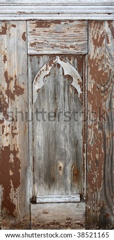 Weathered church pew detail