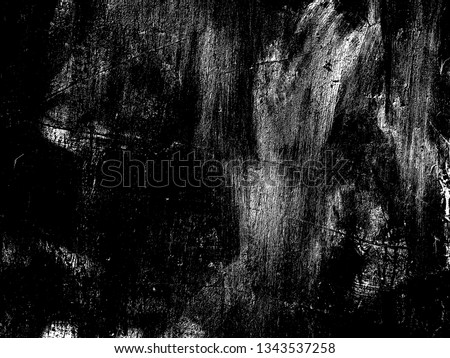 Weathered concrete wall. Rustic stone grit texture. Black stains and noise for distressed effect. Old worn vintage overlay. White paint brushed stroke. Monochrome old concrete wall background #1343537258