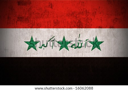 Weathered Flag Of Iraq, fabric textured