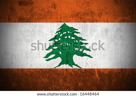 Weathered Flag Of Lebanon, fabric textured