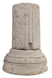 weathered fragment of the base of a classical ancient greek stone column isolated on white background