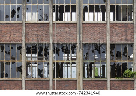 weathered industrial building...