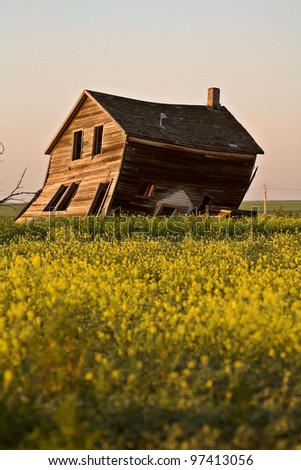 Weathered old farm house in scenic Saskatchewa
