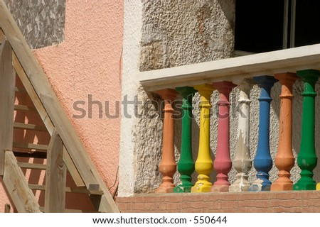 Weathered Painted Porch Posts and Stairway
