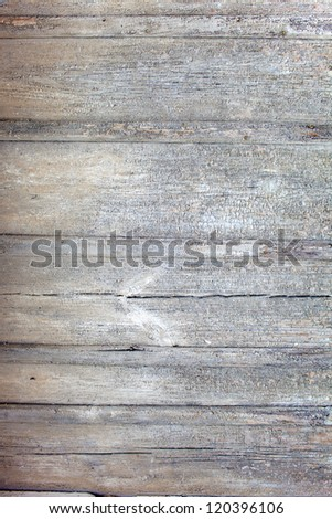 Weathered planks, light grey color paint is peeling. Close-up.