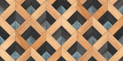 Weathered rough wooden surface. Dark parquet floor with chevron pattern. Seamless vintage wooden wall. Wood texture background.