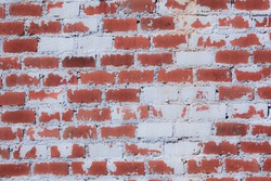 Weathered stained old brick wall background Vintage red brick wall background with leaf shadows on wall background with copy space available.
