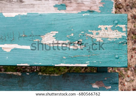 weathered turquoise bleachers