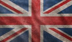Weathered Union Jack UK flag grunge rugged condition waving
