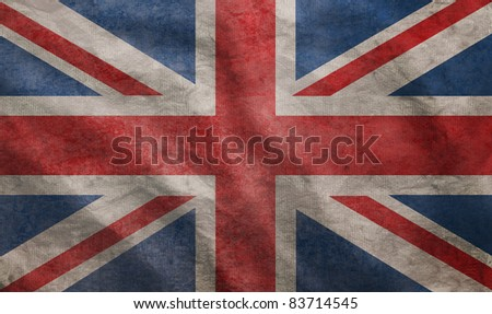 Weathered Union Jack UK flag grunge rugged condition waving