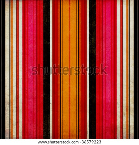 Weathered wall or background with painted, vertical stripes in grunge style - stock photo
