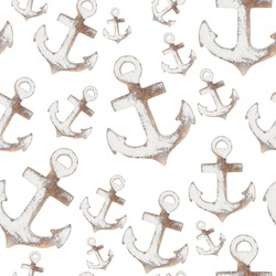 Weathered whitewash wood boat anchor background that is repeat and seamless over white