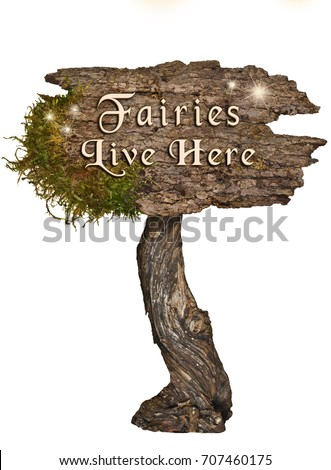 Weathered Wood sign with Letters Fairies Live Here on isolated background/Aged wooden sign with letters Fairies Live Here #707460175