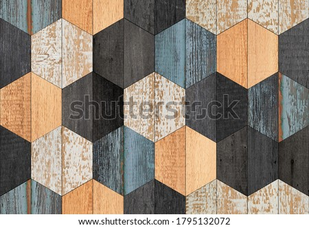 Weathered wood texture background. Colorful seamless wooden wall with hexagonal pattern made of barn boards.