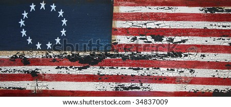 weathered wooden american flag