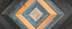 Weathered wooden boards texture. Wooden panel with geometric pattern for wall decor.