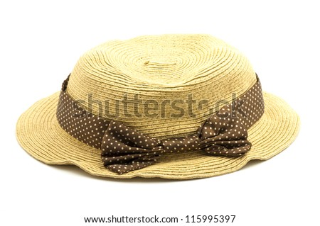 weave hat, brown weaving hat with brown ribbon.