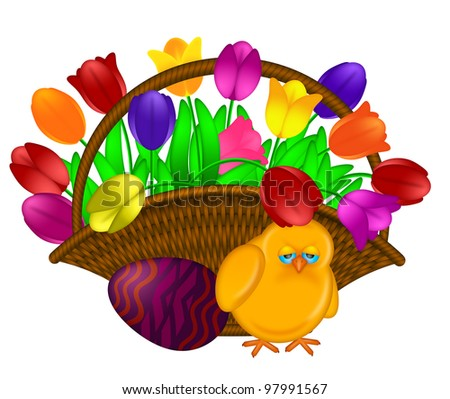 Weaved Basket of Happy Easter Day Colorful Tulips Flowers with Chick and Painted Egg Illustration Isolated on White Background