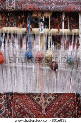 Weaving loom for carpets in Iran