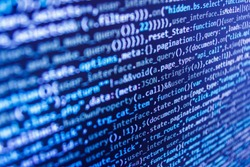 Web abstract programming and created virus on laptop screen. Key password theft hacking firewall concept Developing programming and coding technologies. Source abstract algorithm concept.
