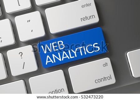 Web Analytics Concept: Computer Keyboard with Web Analytics, Selected Focus on Blue Enter Key. 3D Illustration.