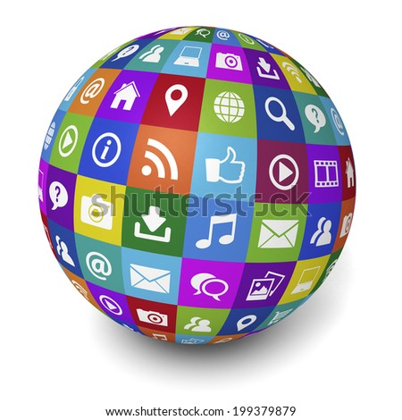 Web and Internet social media concept with technology icons and symbol on a colorful globe on white background.