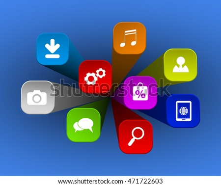 web apps icons on 3d background