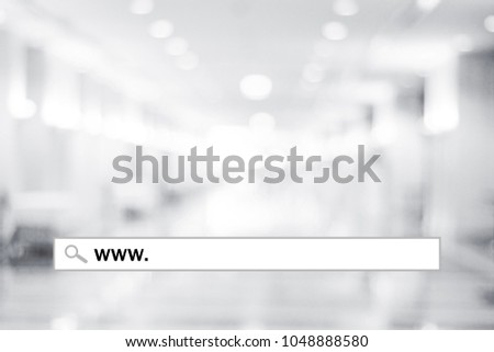 Web banner, www. on search bar over blur store background, on line shopping ,business, E-commerce, technology and digital marketing concept background #1048888580