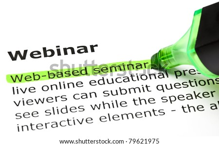 Web-based seminar highlighted in green, under the heading Webinar.