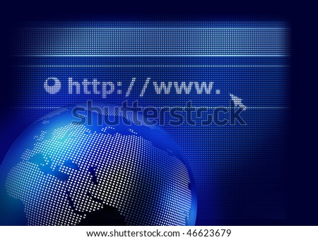 Web browser display and digital earth globe on dark blue background