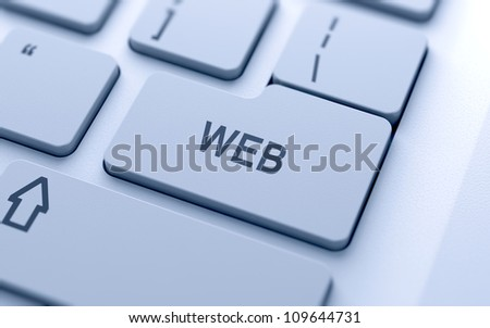 Web button on keyboard with soft focus