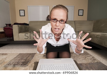 stock photo : Web Cam Striptease #8. Angry or Frustrated Blonde in Business ...