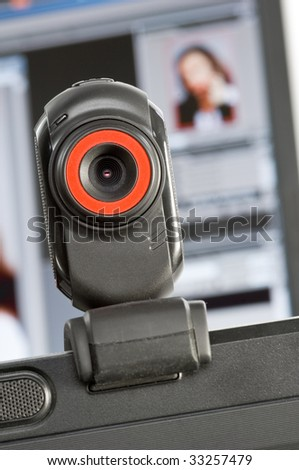 Web cam with PC-Screen in the background