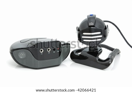Web-camera and audio-box for laptop and home computer - stock photo