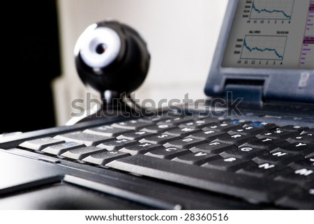 web camera at the laptop - stock photo