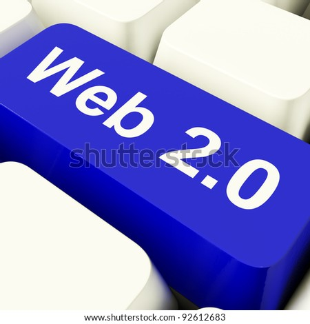 Web2 Computer Key In Blue Showing Social Medias