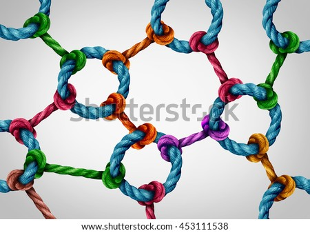 Web connection network as a social media networking structure symbol made of a group of diverse ropes connected by a circle rope icon as a communication technology metaphor for system integration. #453111538
