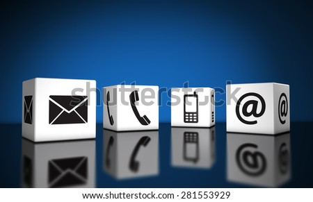 Web contact us and Internet connection concept with email, mobile phone and at icons and symbol on cubes with reflection and blue background for website, blog and on line business.