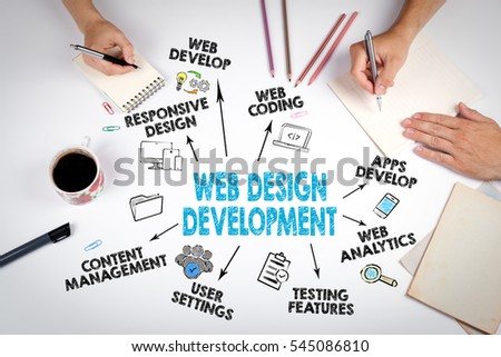 Web Design and Development concept. The meeting at the white office table