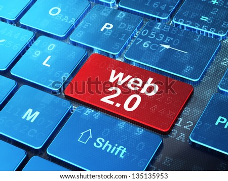 Web design concept: computer keyboard with word Web 2.0 on enter button background, 3d render - stock photo